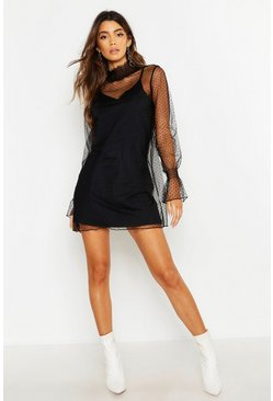 Black Dobby Mesh High Neck Sheer Dress