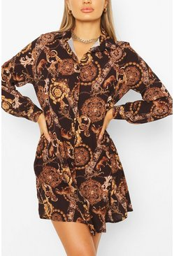 Black Chain Print Shirt Dress