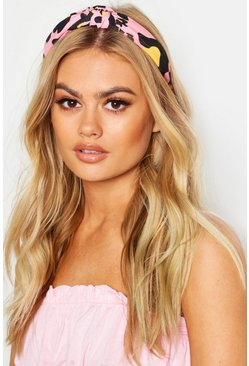 Yellow & Pink Leopard Knot Headband