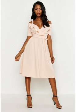 Blush pink Cold Shoulder Ruffle Belted Midi Dress