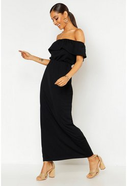 Black Off The Shoulder Ruffle Maxi Dress
