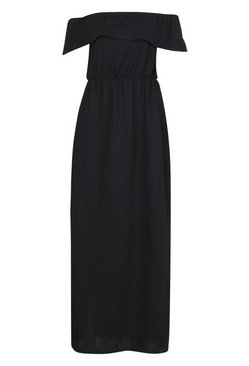 Black Bardot Ruffle Maxi Dress