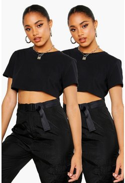 Black 2 Pack Crew Neck Cropped T-Shirt