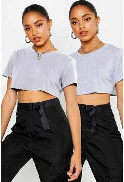 Grey marl grey 2 Pack Crew Neck Cropped T-Shirt