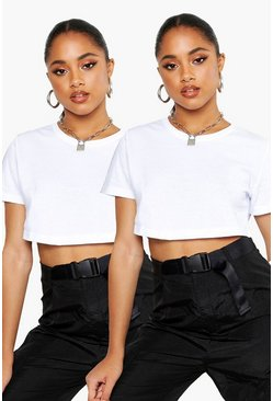 White 2 Pack Crew Neck Cropped T-Shirt