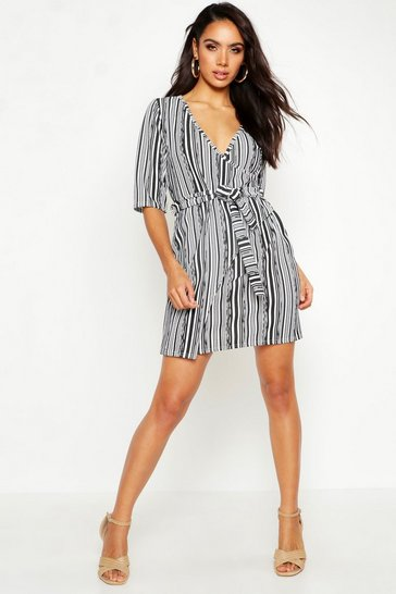 Stripe Detail Wrap Dress