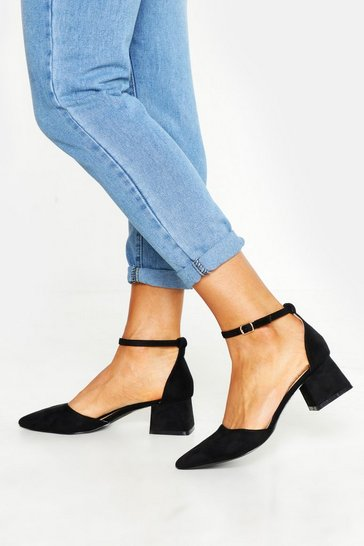 Black Pointed Toe Low Block Heel Ballets