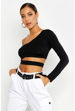 Black Cut Out One Shoulder Long Sleeve Crop