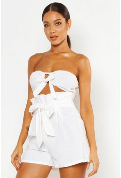 Ecru white Tie Front Linen Look Bandeau Crop Top