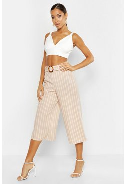 Sand Tonal Stripe Belted Wide Leg Culottes