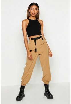 Camel beige Cargo Belted Trousers