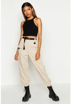 Stone beige Cargo Belted Pants