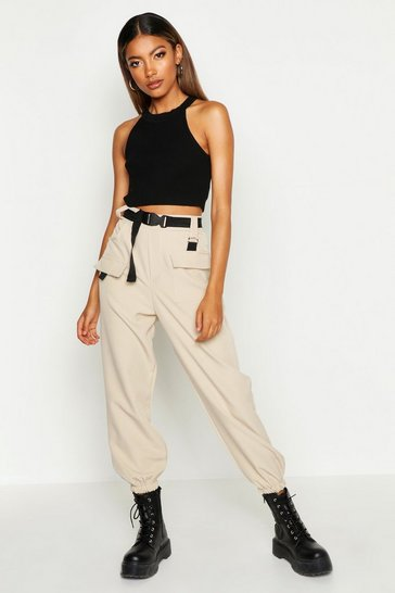 Stone beige Cargo Belted Trousers