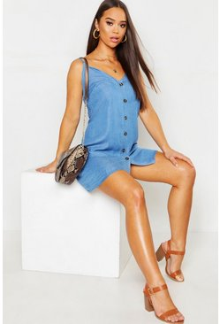 Blue Denim Chambray Button Through Slip Dress