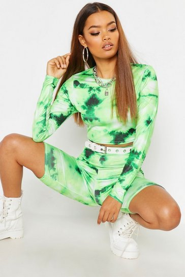 Green Tie Dye Crop And Short Festival Co-Ord Set