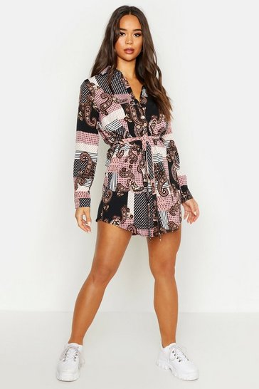 Pink Paisley Shirt Dress