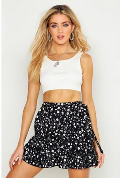 Black Ditsy Floral Ruffle Hem Wrap Mini Skirt
