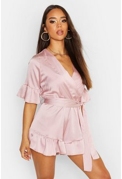 Pink Ruffle Detail Satin Playsuit