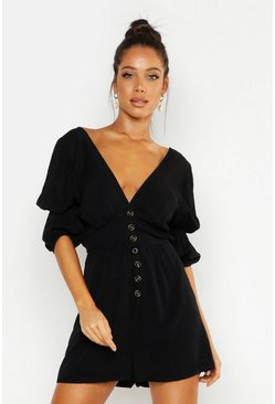 Black Puff Sleeve Button Front Playsuit