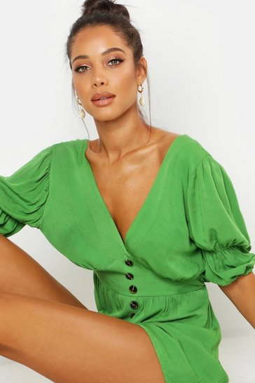 Green Puff Sleeve Button Front Playsuit