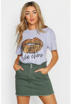 Grey marl Leopard French Slogan Lips T-Shirt