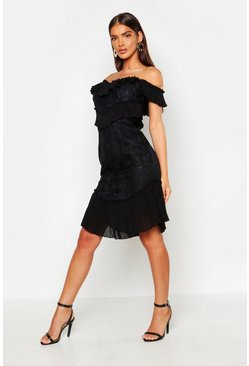 Black All Over Ruffle Midi Dress