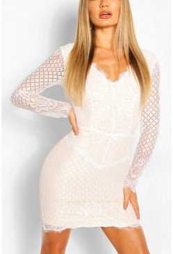 White All Over Lace Bodycon Midi Dress