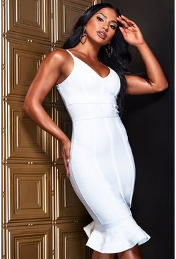 White Contour Bandage Frill Hem Midi Dress