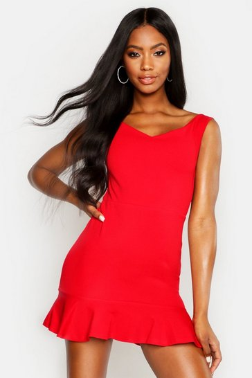 Red Bardot V Neck Frill Hem Mini Dress