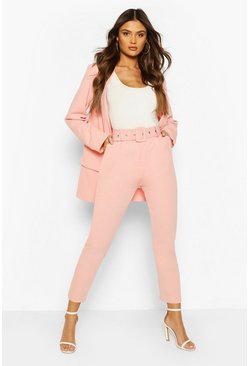 Blush pink Self Belt Tailored Trouser