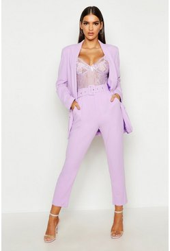 Lilac purple Self Belt Dress Pants