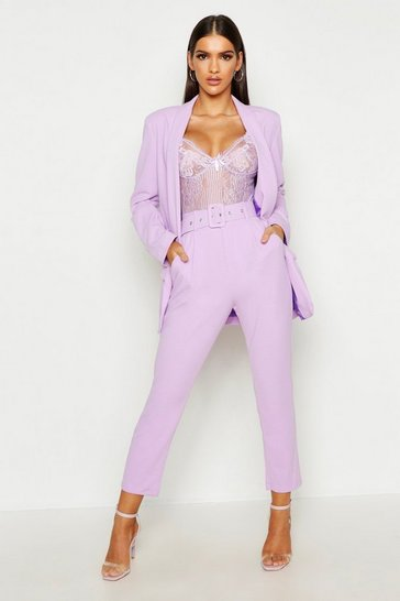 Lilac Self Belt Tailored Trouser