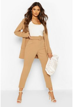 Stone beige Self Belt Tailored Trouser