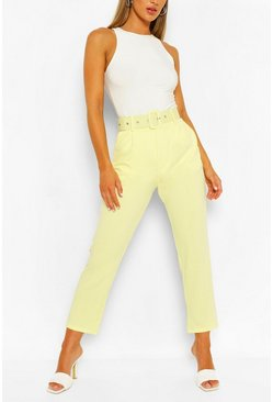 Yellow Self Belt Tailored Trouser