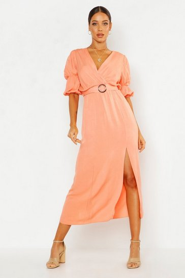 Apricot nude Puff Sleeve Horn Buckle Midaxi Dress