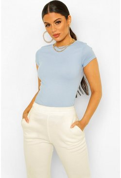 Sky blue Basic Ribbed T-Shirt