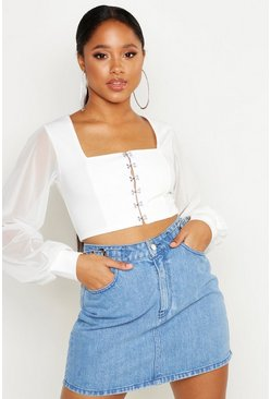 Ivory Hook And Eye Cropped Peasant Top