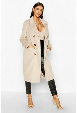 Stone beige Brushed Wool Look Double Breasted Coat