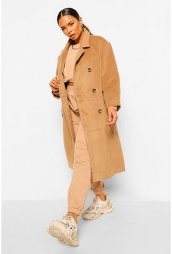 Camel beige Brushed Double Breasted Belted Wool Look Coat