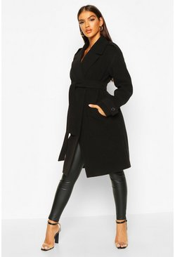 Black Belted Collared Wool Look Coat