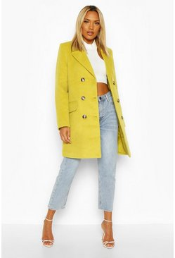 Chartreuse yellow Double Breasted Wool Look Coat