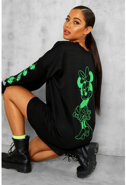 Black Disney Licence Neon Minnie Mouse Sweat Dress