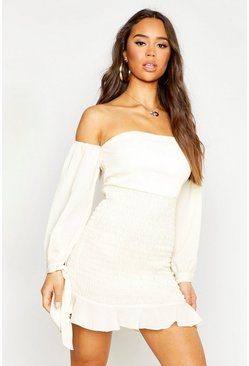 Ecru Shirred Long Sleeve Crinkle Bodycon Mini Dress