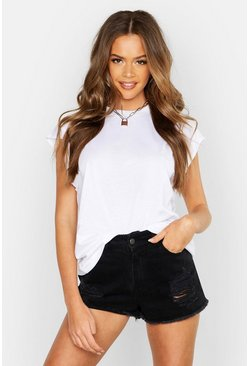 White Basic Cap Sleeve Rib Neck T-Shirt