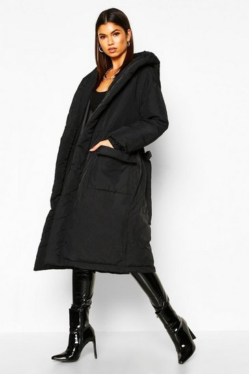 Black Hooded Belted Longline Puffer