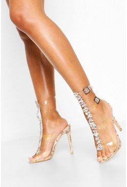 Natural beige Embellished Clear Gladiator Heels