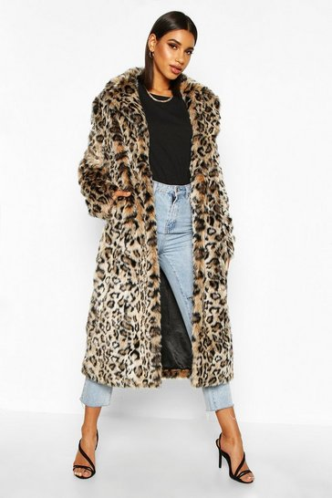 Brown Leopard Faux Fur Longline Coat