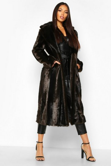 Brown Longline Vintage Faux Fur Coat