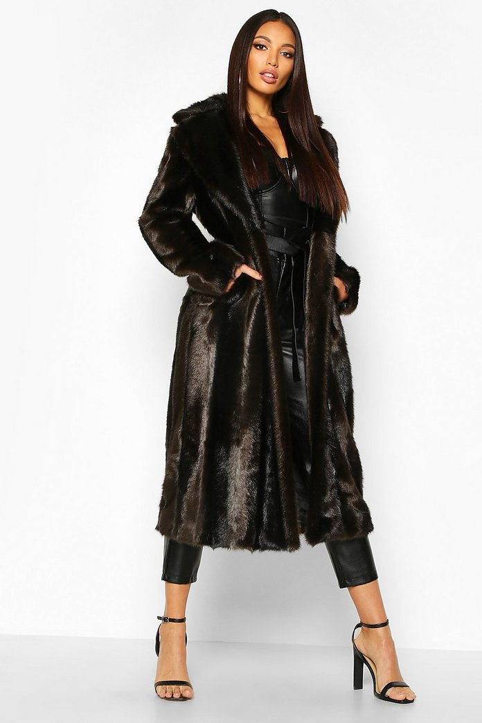 Brown Oversized Faux Fur Coat