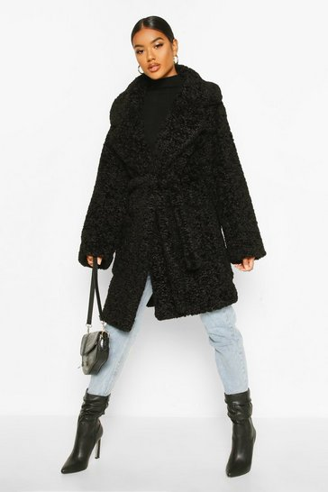 Black Textured Faux Fur Belted Coat